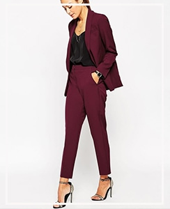 Pantalones de sastre `top + blazer de color